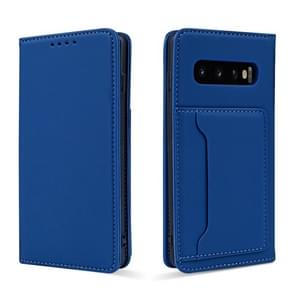 Voor Samsung Galaxy S10+ Strong Magnetism Liquid Feel Horizontal Flip Leather Case met Holder & Card Slots & Wallet(Blue)