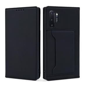 Voor Samsung Galaxy Note10+ Sterk Magnetisme Vloeistof voel horizontale flip lederen hoes met Holder & Card Slots & Wallet(Zwart)