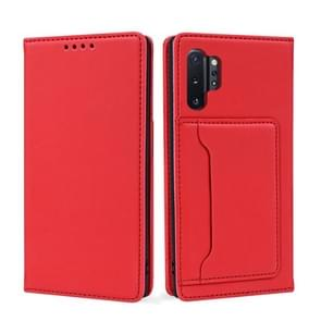Voor Samsung Galaxy Note10+ Sterk Magnetisme Vloeistof voel horizontale flip lederen hoes met Holder & Card Slots & Wallet(Red)