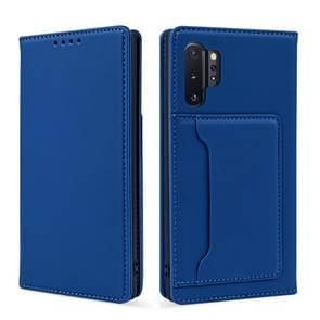 Voor Samsung Galaxy Note10+ Sterk Magnetisme Vloeistof voel horizontale flip lederen hoes met Holder & Card Slots & Wallet(Blauw)