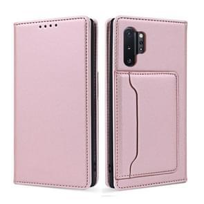 Voor Samsung Galaxy Note10+ Sterk Magnetisme Vloeistof voel horizontale flip lederen hoes met Holder & Card Slots & Wallet(Rose Gold)