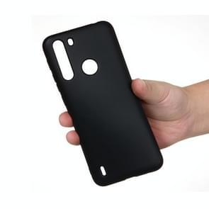 Voor Motorola Moto One Fusion Solid Color Liquid Silicon Silicon Dropproof Full Coverage Protective Case (Zwart)