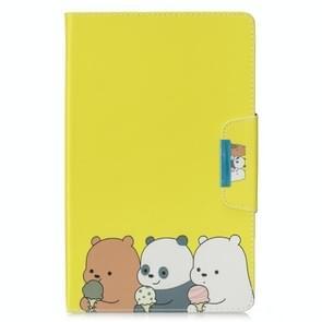Voor Samsung Galaxy Tab E 9.6 / T560 Painted Pattern Horizontale Flip Lederen case met Holder & Card Slots & Wallet(Bear familie)