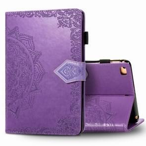 Voor iPad 5 / 6 / 7 / 8 Reliëf Mandala Patroon TPU + PU Horizontale Flip Lederen Case met Holder & Card Slots & Wallet(Paars)