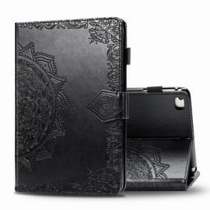 Voor iPad 5 / 6 / 7 / 8 Reliëf Mandala Patroon TPU + PU Horizontale Flip Lederen Case met Holder & Card Slots & Wallet(Black)