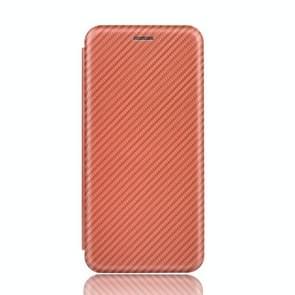 Voor iPod Touch 5 / 6 / 7 Koolstofvezel textuur Magnetische horizontale flip TPU + PC + PU lederen hoes met kaartsleuf (bruin)