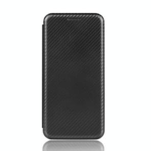 Voor iPod Touch 5 / 6 / 7 Koolstofvezel textuur Magnetische horizontale flip TPU + PC + PU lederen hoes met kaartsleuf(zwart)