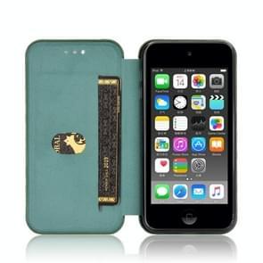 Voor iPod Touch 5 / 6 / 7 Koolstofvezel textuur Magnetische horizontale flip TPU + PC + PU lederen hoes met kaartsleuf (groen)