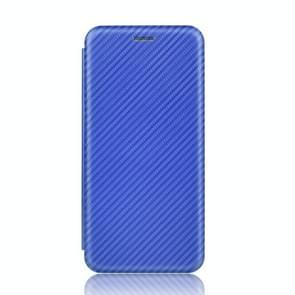 Voor iPod Touch 5 / 6 / 7 Koolstofvezel textuur Magnetische horizontale flip TPU + PC + PU lederen hoes met kaartsleuf(Blauw)