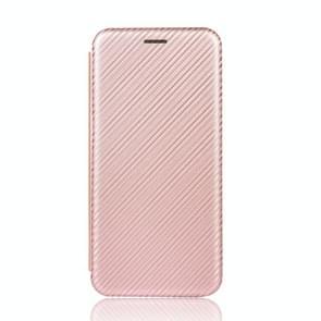 Voor iPod Touch 5 / 6 / 7 Koolstofvezel textuur Magnetische horizontale flip TPU + PC + PU lederen hoes met kaartsleuf (roze)