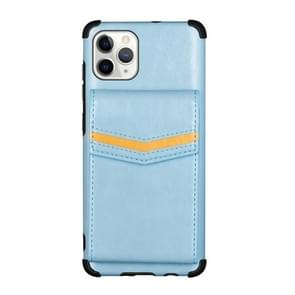 Voor iPhone 11 Pro Flip Card Bag Copper Buckle TPU + PU Leather Back Cover Shockproof Case met Card Slots & Photo Frame(Blauw)