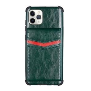 Voor iPhone 11 Pro Flip Card Bag Copper Buckle TPU + PU Leather Back Cover Shockproof Case met Card Slots & Photo Frame (Donkergroen)