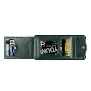 Voor iPhone 12 Pro Max Flip Card Bag Copper Buckle TPU + PU Leather Back Cover Shockproof case met Card Slots & Photo Frame(Donkergroen)