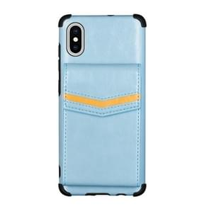 Voor iPhone XS Max Flip Card Bag Copper Buckle TPU + PU Leather Back Cover Shockproof Case met Card Slots & Photo Frame(Blauw)