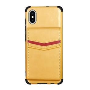 Voor iPhone XS Max Flip Card Bag Copper Buckle TPU + PU Leather Back Cover Shockproof Case met Card Slots & Photo Frame(Geel)