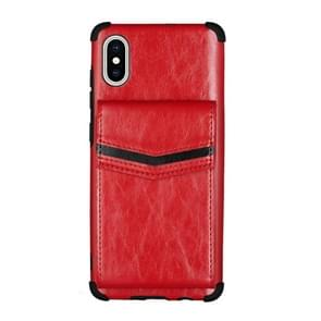 Voor iPhone XS Max Flip Card Bag Copper Buckle TPU + PU Leather Back Cover Shockproof Case met Card Slots & Photo Frame(Red)