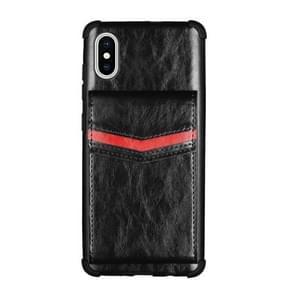 Voor iPhone XS Max Flip Card Bag Copper Buckle TPU + PU Leather Back Cover Shockproof Case met Card Slots & Photo Frame(Zwart)