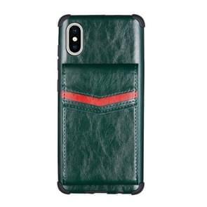 Voor iPhone XS Max Flip Card Bag Copper Buckle TPU + PU Leather Back Cover Shockproof Case met Card Slots & Photo Frame (Donkergroen)