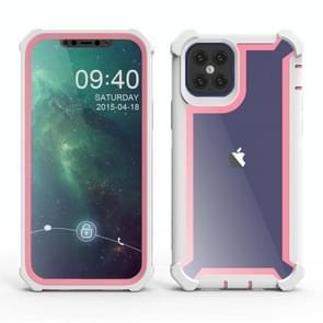Voor iPhone 12 Pro Max Schokbestendige all-inclusive transparante ruimte beschermhoes (Roze Wit)