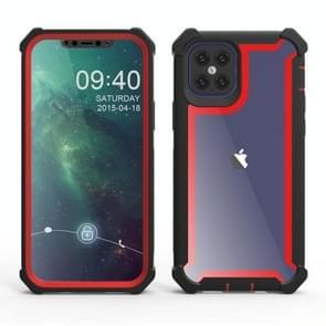 Voor iPhone 12 Pro Max Schokbestendige all-inclusive transparante ruimte beschermhoes (Zwart rood)