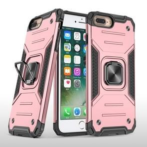 Voor iPhone 8 Plus & 7 Plus Magnetic Armor Shockproof TPU + PC Case met metalen ringhouder(Rose Gold)