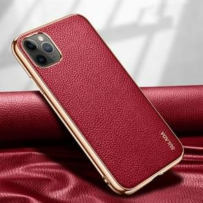 Voor iPhone 11 Pro SULADA Litchi Texture Leather Electroplated Shckproof Protective Case(Rood)