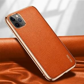 Voor iPhone 11 Pro SULADA Litchi Texture Leather Electroplated Shckproof Protective Case(Oranje)