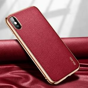Voor iPhone XS Max SULADA Litchi Texture Leather Electroplated Shckproof Protective Case(Rood)