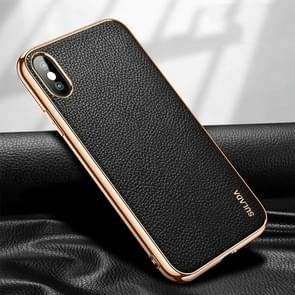 Voor iPhone XS Max SULADA Litchi Texture Leather Electroplated Shckproof Protective Case(Zwart)