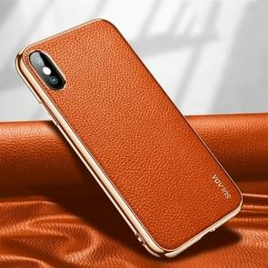 Voor iPhone XS Max SULADA Litchi Texture Leather Electroplated Shckproof Protective Case(Oranje)