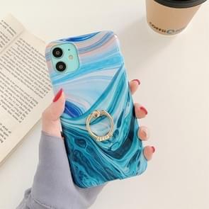 Voor iPhone 11 Pro Max Ocean Wave Coral IMD Glossy Marble Phone Case met ringhouder(Groen)