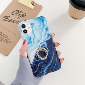 Voor iPhone 11 Pro Max Ocean Wave Coral IMD Glossy Marble Phone Case met Ring Holder(Zwart)