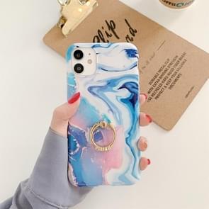 Voor iPhone 11 Pro Max Ocean Wave Coral IMD Glossy Marble Phone Case met ringhouder(Blauw)