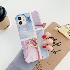 Voor iPhone 11 Pro Max Ocean Wave Coral IMD Glossy Marble Phone Case met ringhouder (Roze Blauw)