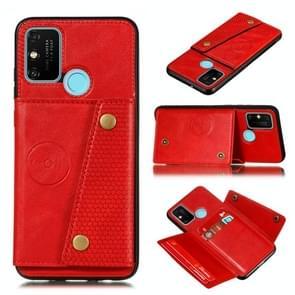Voor OPPO A53 Double Buckle PU + TPU Shockproof Magnetische beschermhoes met kaartslot & houder(rood)