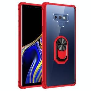 Voor Samsung Galaxy Note9 Schokbestendige Transparante TPU + acryl beschermhoes met ringhouder(rood)