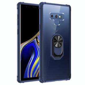 Voor Samsung Galaxy Note9 Schokbestendige Transparante TPU + acryl beschermhoes met ringhouder(blauw)