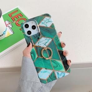 Plating Marble Pattern Soft TPU Beschermhoes met ringhouder voor iPhone 11 Pro Max (Donkergroen rooster)