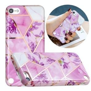 Volledige plating Splicing Vergulde beschermhoes voor iPod Touch 6 / 5 (Paarse bloemen kleur matching)
