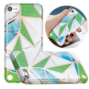 Volledige plating Splicing Vergulde beschermhoes voor iPod Touch 6 / 5 (Groene driehoek Body Color Matching)