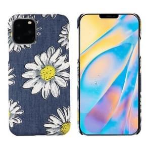 PC + Denim Texture Printing Beschermhoes voor iPhone 11 Pro (White Cherysanthemum)