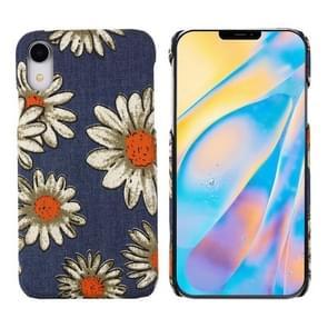 PC + Denim Texture Printing Beschermhoes voor iPhone XS Max (Yellow Cherysanthemum)