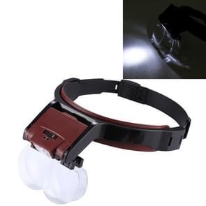 Multi verstelbaar functiebehoud tandheelkunde lezing hoofd vergrootglas met 2 LED licht & 4 lenzen (1 7 X  2 X 2.5 X  4 X)