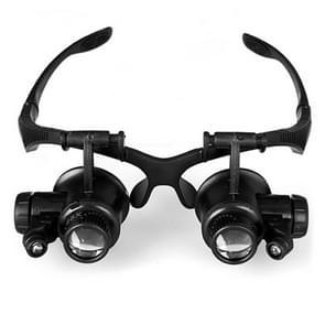 10 x 15 X 20 X 25 X dubbel oog glazen Lens juwelier horloge reparatie hoofd vergrootglas met 2 LED-Lights(Black)