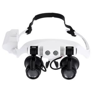 10 x 15 X 20 X 25 X dragen van bril ogen verlicht Vergrootglas uitvergroten horloge repareren Loupe met LED Light(White)