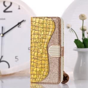 Krokodil textuur matching horizontale Flip lederen draagtas met kaartsleuven & houder voor Galaxy S10 (goud)