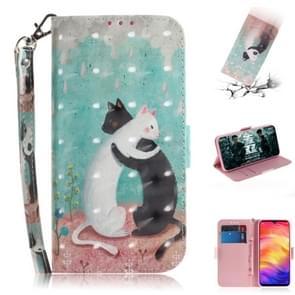 3D gekleurde tekening horizontale Flip lederen draagtas met houder & kaartsleuven & portemonnee voor Huawei P30 (zwart witte kat)
