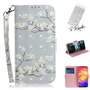 3D gekleurde tekening horizontale Flip lederen draagtas met houder & kaartsleuven & portemonnee voor Huawei mate 20 X (Magnolia)