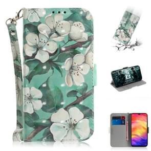 3D gekleurde tekening horizontale Flip lederen draagtas met houder & kaartsleuven & portemonnee voor Huawei mate 20 X (aquarel bloem)