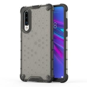Schokbestendige honingraat PC + TPU beschermende case voor Huawei P30 Lite (zwart)